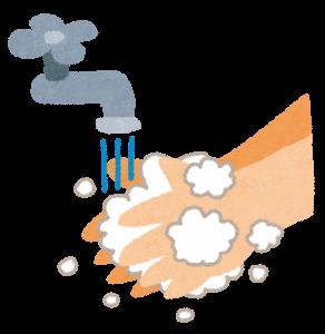 手を洗っているイラスト
